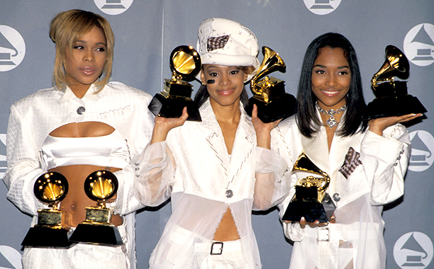 "Tionne ""T-Boz"" Watkins, Lisa ""Left Eye"" Lopes and Rozonda ""Chilli"" Thomas of TLC With Their Grammys for Best R&B Performance by a Duo or Group with Vocal and Best R&B Album"