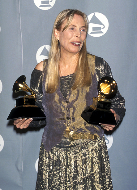Joni Mitchell With Her Grammys for Best Recording Package and Best Pop Album