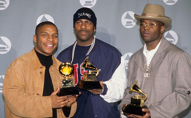 Treach, Vin Rock, and DJ Kay Gee of Naughty By Nature With Their Grammy for Best Rap Album for Poverty's Paradise