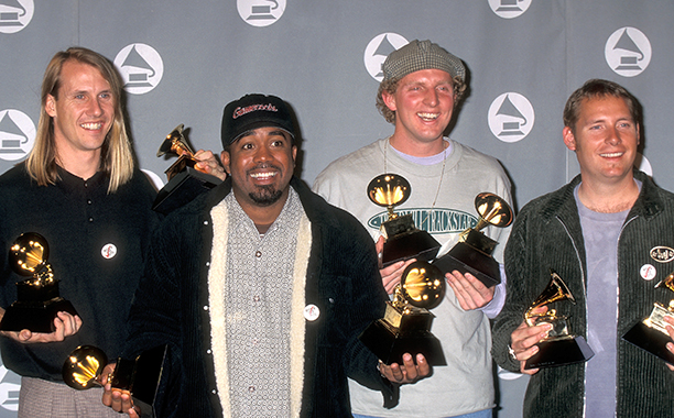 "Members of Hootie & the Blowfish With Their Grammys for Best New Artist and Best Pop Performance by a Duo or Group with Vocal for ""Let Her Cry"""