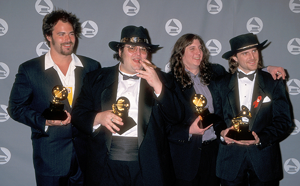 "Members of Blues Traveler With Their Grammy for Best Rock Performance by a Duo or Group with Vocal for ""Run-Around"""