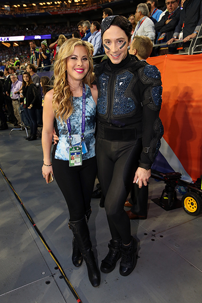 Tara Lipinski and Johnny Weir at Super Bowl XLIX (New England Patriots vs. Seattle Seahawks) in 2015