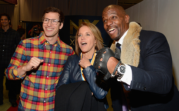 Andy Samberg, Katie Couric, and Terry Crews at Super Bowl XLVIII (Seattle Seahawks vs. Denver Broncos) in 2014