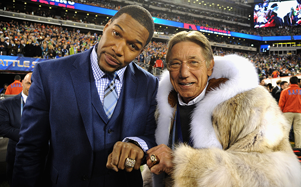 Michael Strahan and Joe Namath at Super Bowl XLVIII (Seattle Seahawks vs. Denver Broncos) in 2014