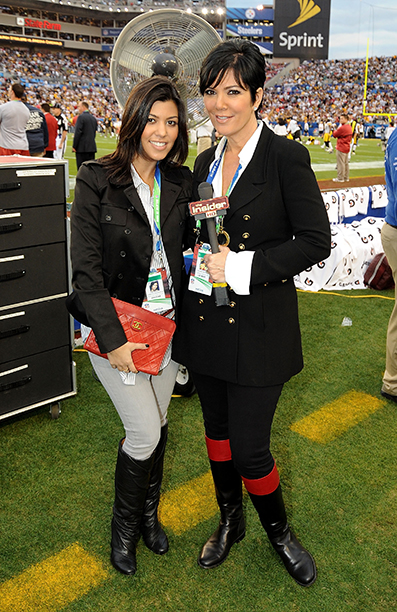Kourtney Kardashian and Kris Jenner at Super Bowl XLIII (Arizona Cardinals vs. Pittsburgh Steelers) in 2009