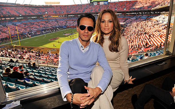 Jennifer Lopez and Marc Anthony at Super Bowl XLIV (New Orleans Saints vs. Indianapolis Colts) in 2010