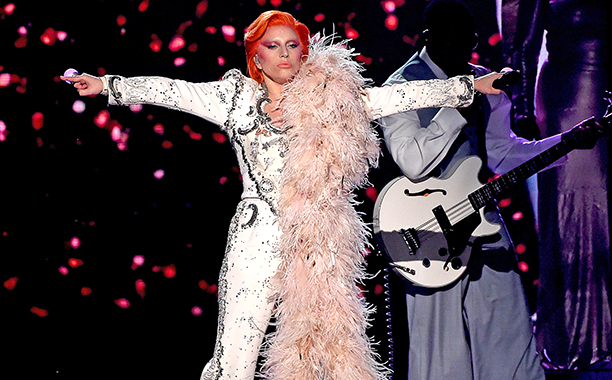 """Lady Gaga, """"Space Oddity"""" / """"Changes"""" / """"Ziggy Stardust"""" / """"Suffragette City"""" / """"Rebel Rebel"""" / """"Fashion"""" / """"Fame"""" / """"Let's Dance"""" / """"Heroes"""""""