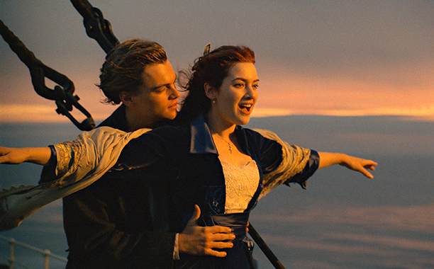 Jack and Rose (Leonardo DiCaprio and Kate Winslet) in Titanic