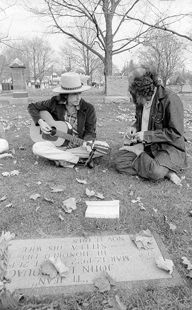 Bob Dylan and Allen Ginsberg Visiting Jack Kerouac's Grave in Lowell, Massachusetts in 1975