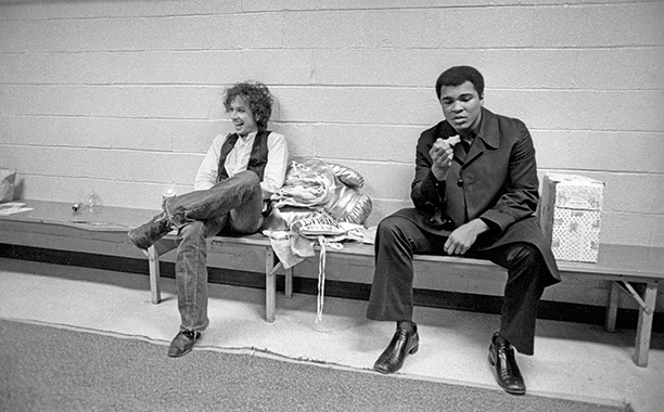 Bob Dylan with Muhammad Ali Backstage at Madison Square Garden on December 8, 1975
