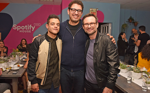 Rami Malek, Sam Esmail, and Christian Slater