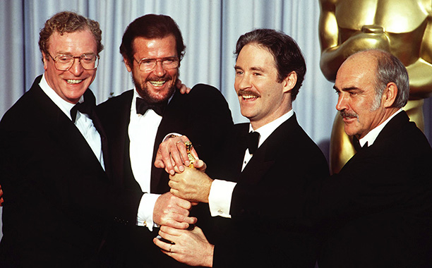 With Roger Moore, Kevin Kline, and Sean Connery in 1989