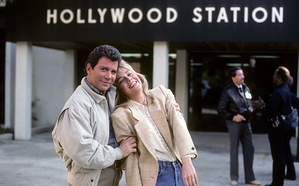With Sharon Stone, February 23, 1985