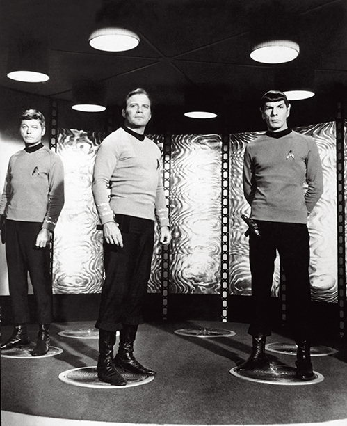 With DeForest Kelley and Leonard Nimoy, 1966