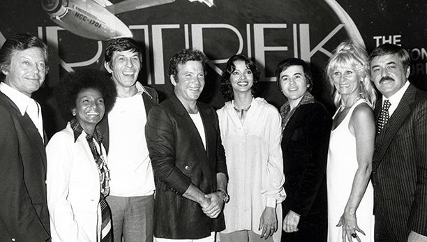 With DeForest Kelley, Nichelle Nichols, Leonard Nimoy, Persis Khambatta, Walter Koenig, Grace Lee Whitney, and James Doohan, March 28, 1978