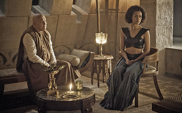 Conleth Hill as Varys and Nathalie Emmanuel as Missandei