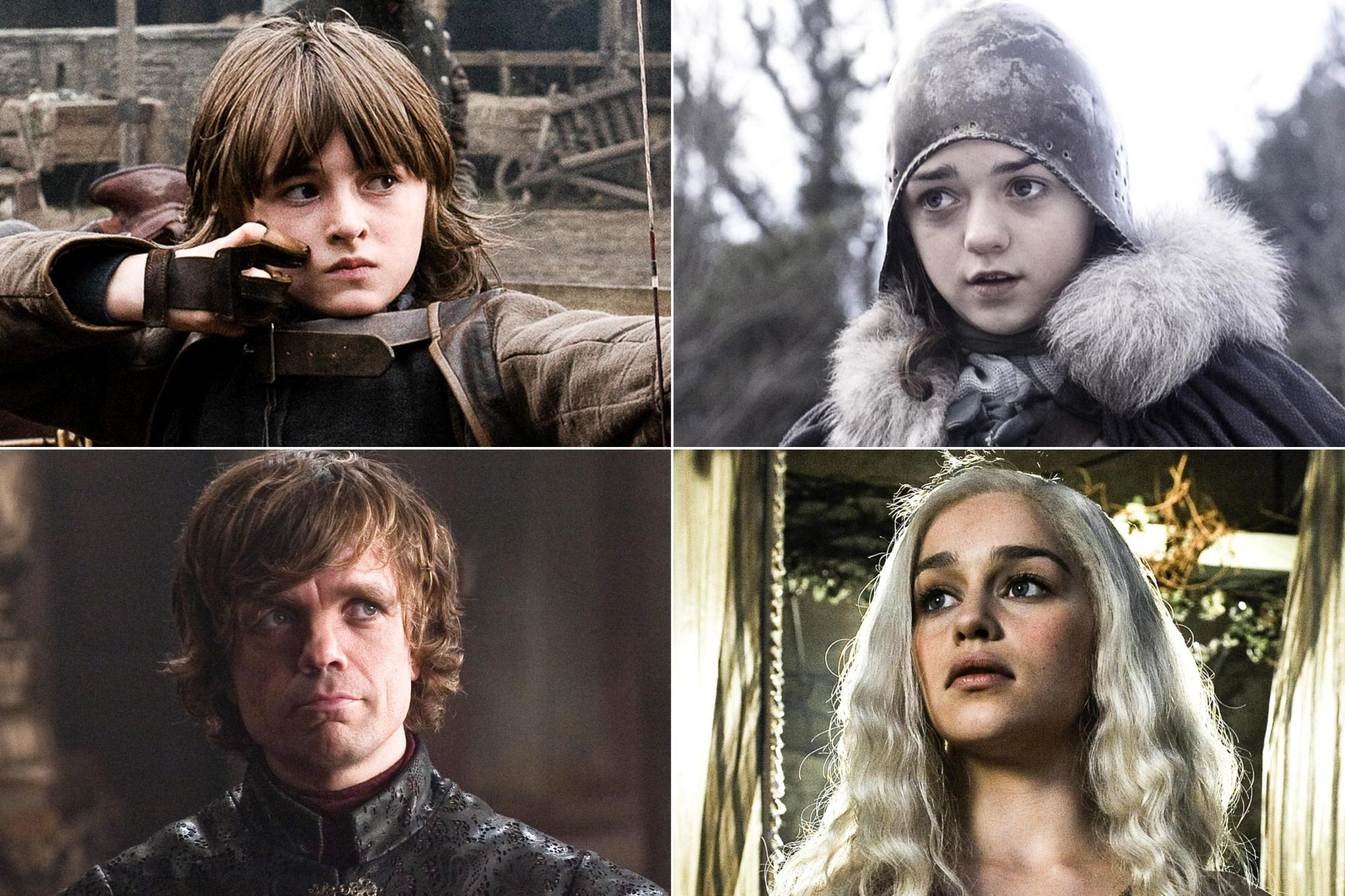 Game of Thrones Now and Then Isaac Hempstead Wright as Bran Stark Maisie Williams as Arya Stark Peter Dinklage as Tyrion Lannister Emilia Clarke as Daenerys Targaryen CR: Helen Sloan/HBO (3); HBO