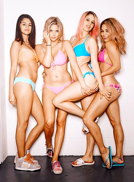 Selena Gomez, Ashley Benson, Rachel Korine and Vanessa Hudgens as Faith, Brit, Cotty, and Candy in Spring Breakers