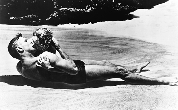 Burt Lancaster and Deborah Kerr as First Sergeant Milton Warden and Karen Holmes in From Here to Eternity