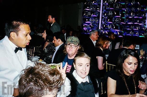 Michael Moore, Lena Dunham, and Jenni Konner