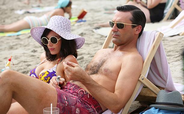 Jon Hamm and Jessica Pare as Don Draper and Megan Draper in Mad Men