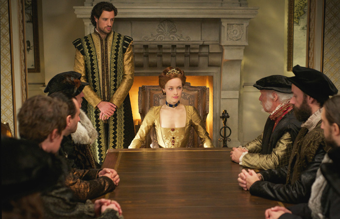"ALL CROPS: Reign - ""Strange Bedfellows"" -- Image Number: RE313a_0052.jpg -- Pictured (L-R): Charlie Carrick as Robert Dudley and Rachel Skarsten as Queen Elizabeth I -- Photo:"