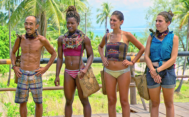 "2016 Episode Galler: ""Not Going Down Without a Fight"" -- Tai Trang, Cydney Gillon, Michele Fitzgerald and Aubry Bracco during the finale episode of SURVIVOR: KAOH RONG -- Brains vs. Brawn vs. Beauty. The two-hour season finale, followed by the one-"
