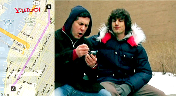 """Lyric: """"Yo, where's the movie playin'? Upper West Side, dude / Well, let's hit up Yahoo! Maps to find the dopest route"""