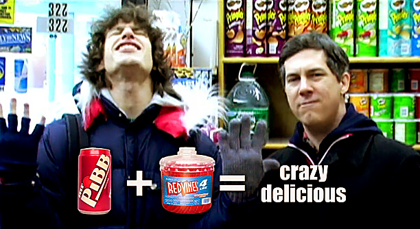 """Lyric: """"Mr. Pibb and Red Vines equals crazy delicious"""""""