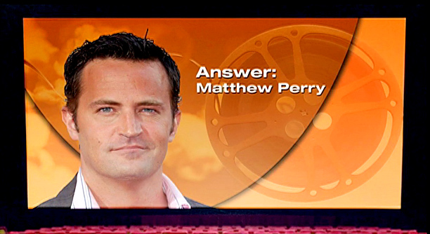 """Lyric: """"We answered so fast, it was scary / Everyone stared in awe when we screamed, """"Matthew Perry!"""""""
