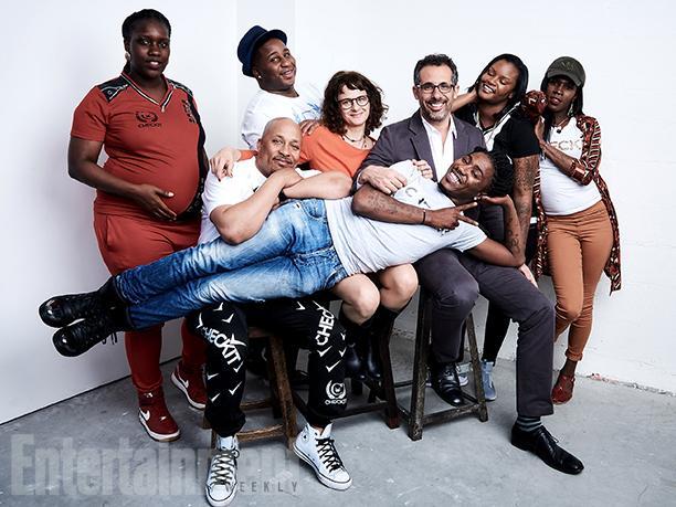 "Netta, Ron ""Mo"" Moten, Trey, Dana Flor, Toby Oppenheimer, DayDay, Erica, and Star from ""Check It"""