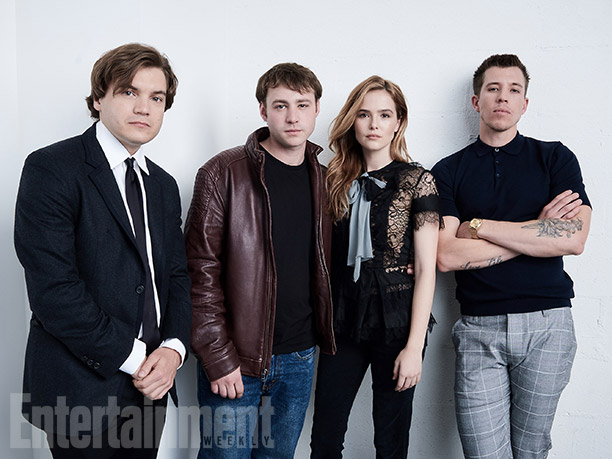 """Emile Hirsch, Emory Cohen, Zoey Deutch, and Beau Knapp from """"Vincent-N-Roxxy"""""""