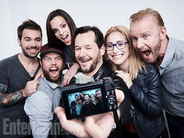"Charles Trippy, Shay Carl Butler, Colette Butler, Matthew Testa, Gaby Dunn, and Morgan Spurlock from ""Vlogumentary"""