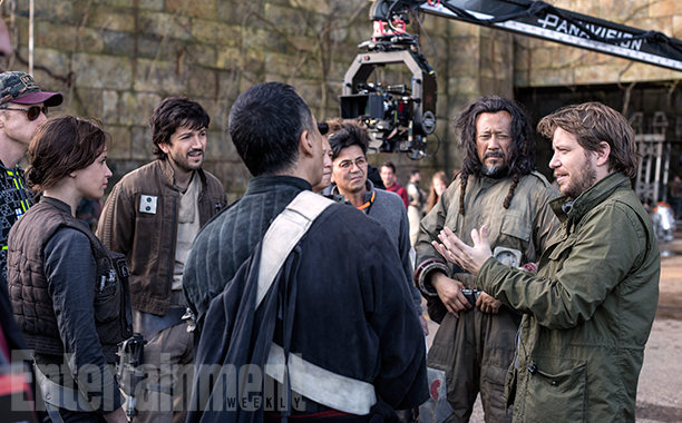 GALLERY: Behind the Scenes on 'Rogue One': ALL CROPS: Rogue One: A Star Wars Story L to R: Alan Tudyk (K-2SO), Felicity Jones (Jyn Erso), Diego Luna (Cassian Andor), Donnie Yen (Chirrut Imwe), Jiang Wen (Baze Malbus), and Director Gareth Edwards