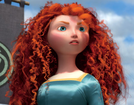 Brave | The Scottish princess can't be pinned down and neither can her hair! Merida's 1,500 (!) Easter grass curls represent her wild spirit along with the…