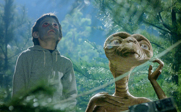 E.T. is peaceful, he can heal people with the touch of a finger, and all he wants is to go home again. Not to mention…
