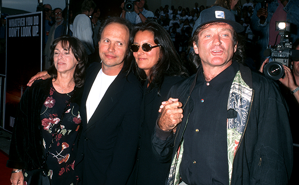 Janice Goldfinger, Billy Crystal, Marsha Garces, and Robin Williams