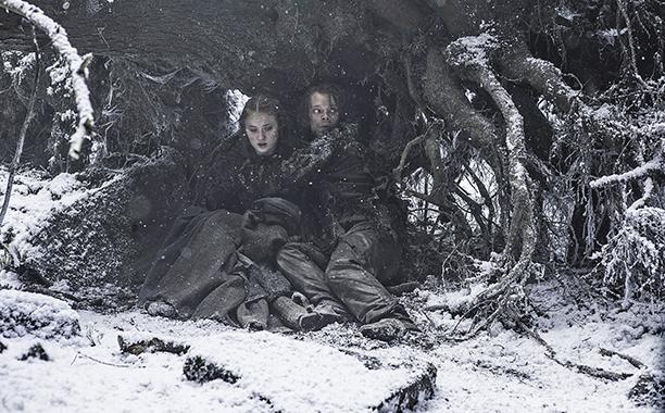Sophie Turner as Sansa Stark and Alfie Allen as Theon Greyjoy
