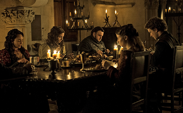 Samantha Spiro as Melissa Tarly, Hannah Murray as Gilly, John Bradley as Samwell Tarly, Freddie Stroma as Dickon Tarly and Rebecca Benson as Talla Tarly