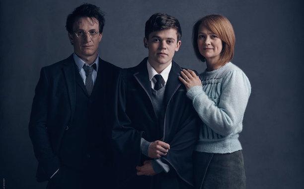 Jamie Parker as Harry Potter, Sam Clemmett as Albus Severus Potter, and Poppy Miller as Ginny Potter