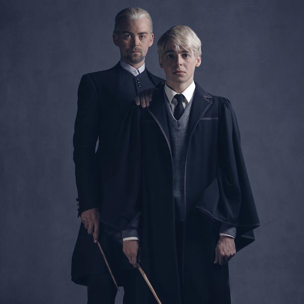 Alex Price as Draco Malfoy and Anthony Boyle as Scorpius Malfoy