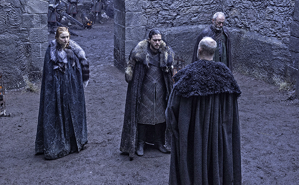 Sophie Turner as Sansa Stark, Kit Harington as Jon Snow, Liam Cunningham as Davos Seaworth, Tim McInnerny as Robett Glover
