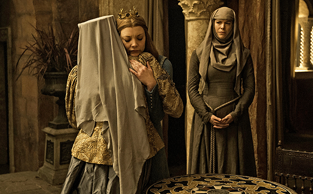 Diana Rigg as Olenna Tyrell, Natalie Dormer as Margaery Tyrell and Hannah Waddingham as Septa Unella