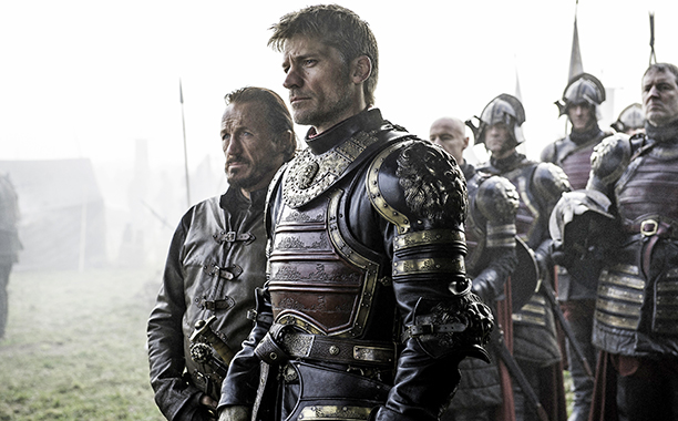 Jerome Flynn as Bronn and Nikolaj Coster-Waldau as Jaime Lannister