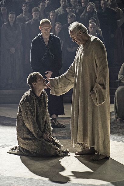 Finn Jones as Loras Tyrell and Jonathan Pryce as The High Sparrow