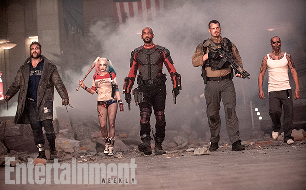 Jai Courtney as Captain Boomerang, Margot Robbie as Harley Quinn, Will Smith as Deadshot, Joel Kinnaman as Rick Flag, and Jay Hernandez as Diablo