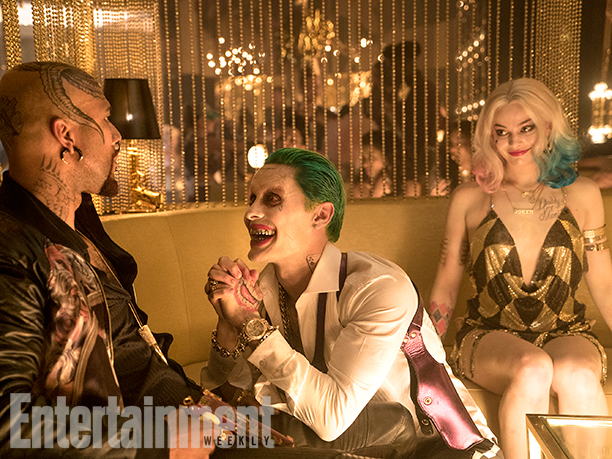 Common as Monster T, Jared Leto as The Joker, and Margot Robbie as Harley Quinn