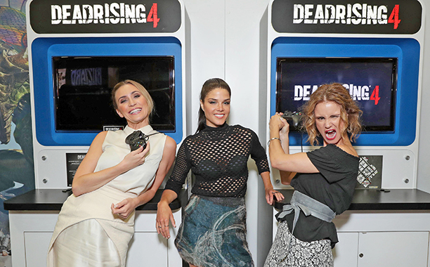 Jessica Harmon, Marie Avgeropoulos, and Keegan Connor Tracy of Crackle's Dead Rising: Endgame