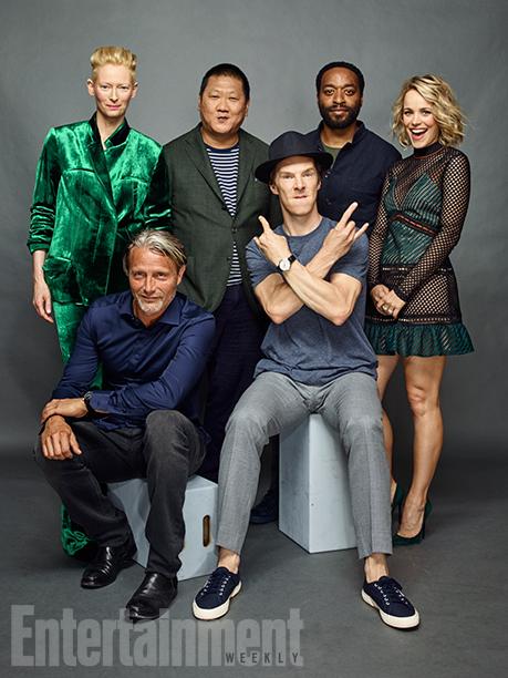 Tilda Swinton, Benedict Wong, Rachel McAdams, Chiwetel Ejiofor, Benedict Cumberbatch and Mads Mikkelsen, 'Doctor Strange'