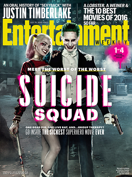 Margot Robbie as Harley Quinn and Jared Leto as The Joker on the Cover of Entertainment Weekly